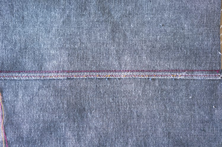 serged jeans seam