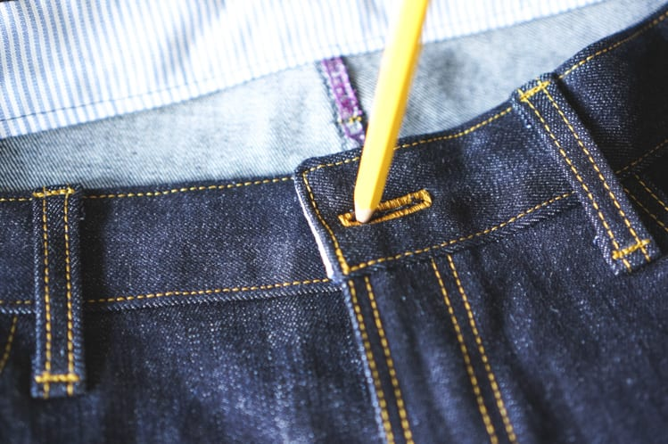 marking location for jeans button