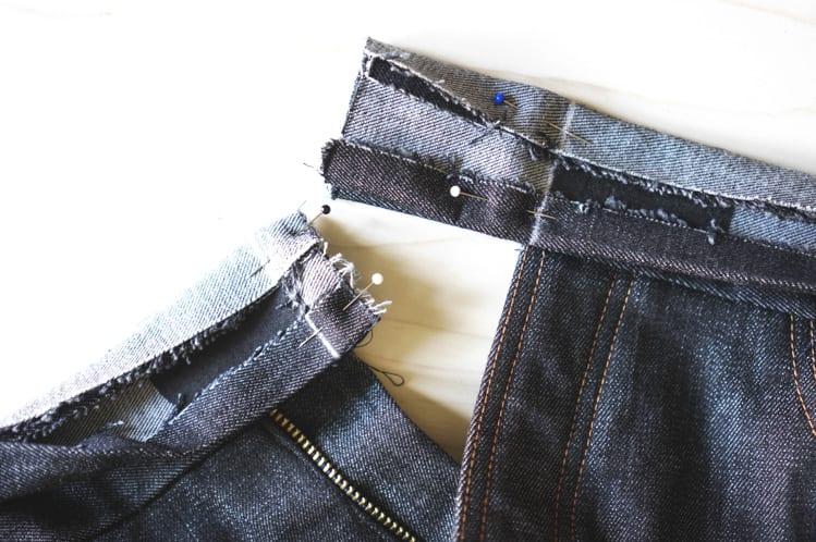 ginger skinny jeans pattern - installing waistband-17