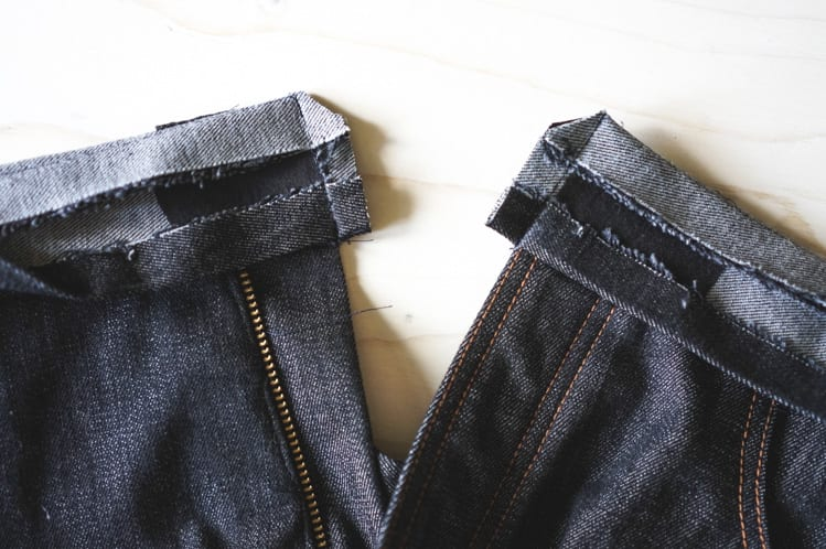 attaching jeans waistband