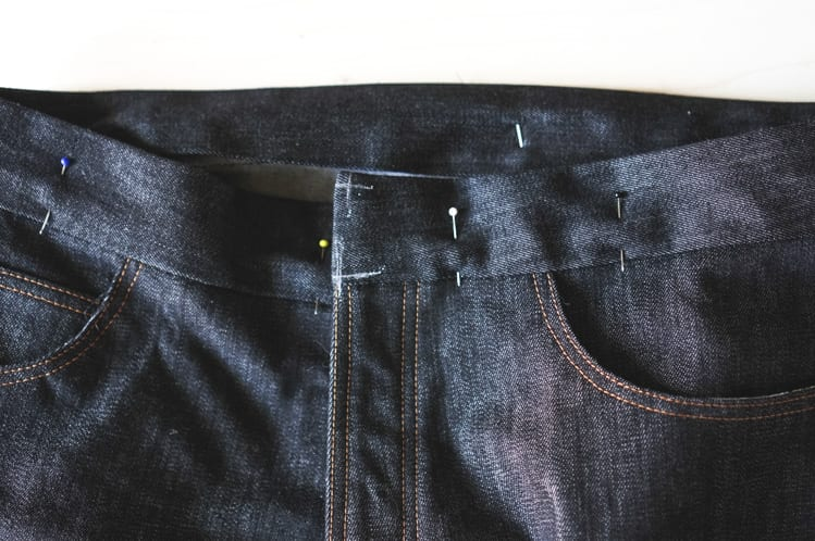 sewing jeans waistband