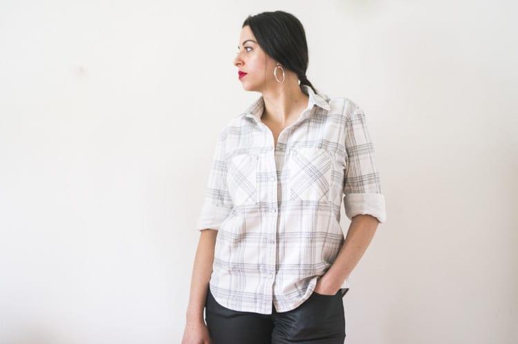 plaid archer button down shirt