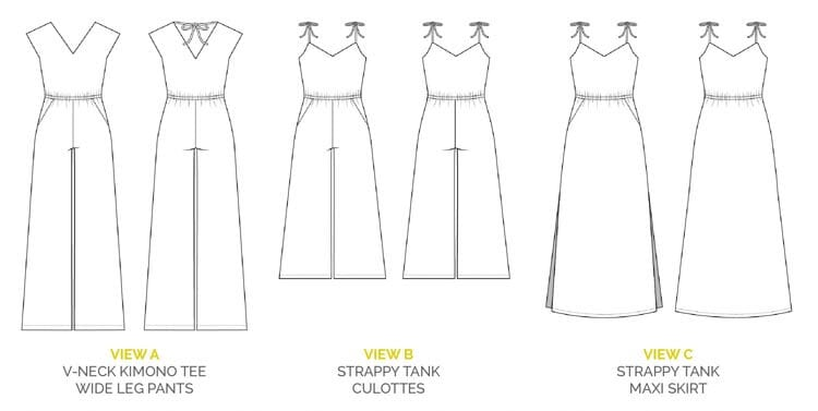 Sallie Jumpsuit and Maxi Dress sewing pattern // Technical Drawings // Closet Case Files http://store.closetcasefiles.com