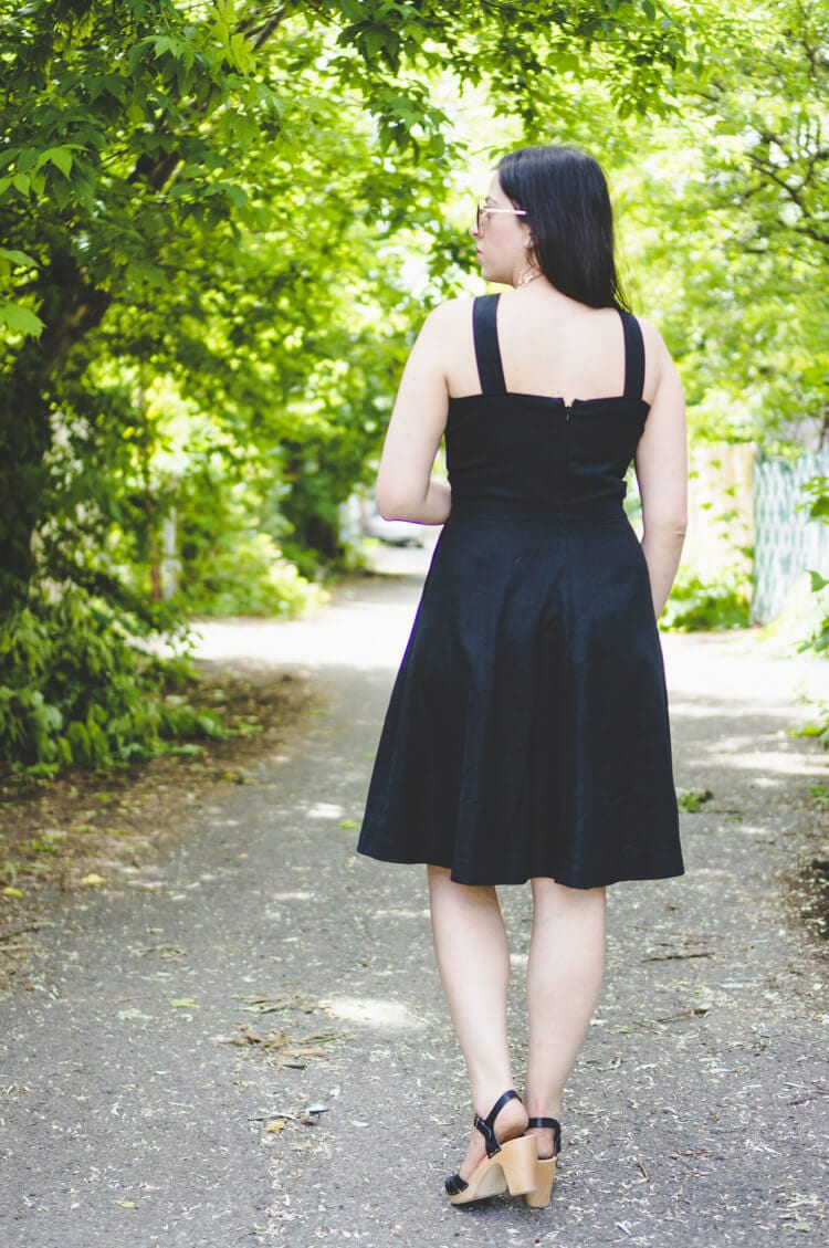 black linen dress back
