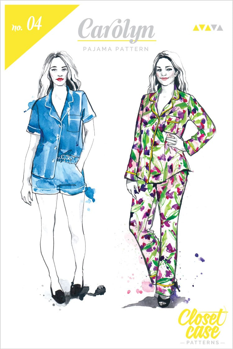 Fashion illustrations for printed patterns // Carolyn Pajamas // Closet Case Files