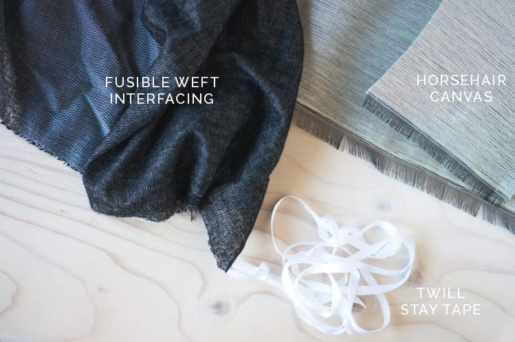 Weft interfacing + horsehair canvas // Clare Coat Sewalong // Closet Case Files