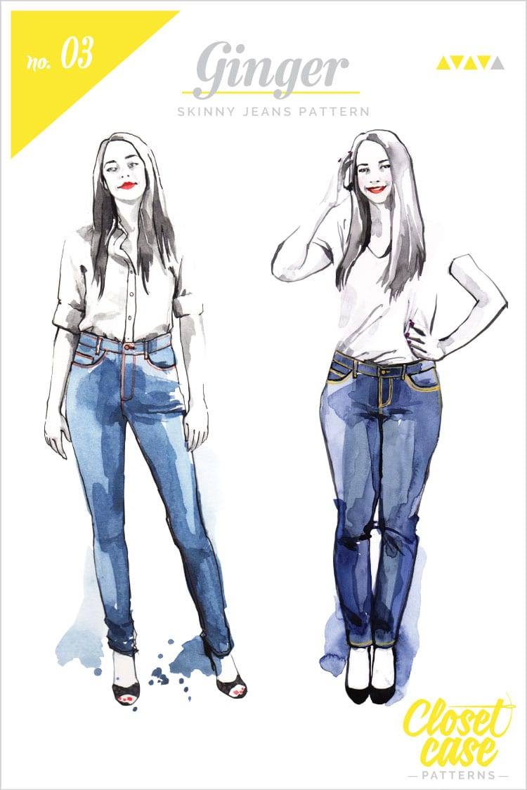 Fashion illustrations for printed patterns // Ginger Jeans // Closet Case Files