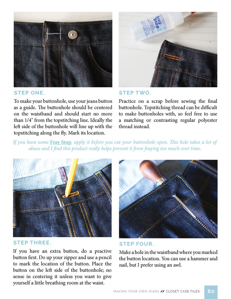Installing Jeans button // Sewing Your Own Jeans eBook // Closet Case Files