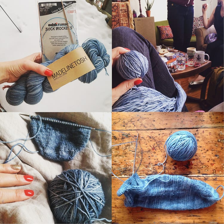Knitting socks in Madeline Tosh Twist Denim // Closet Case Files