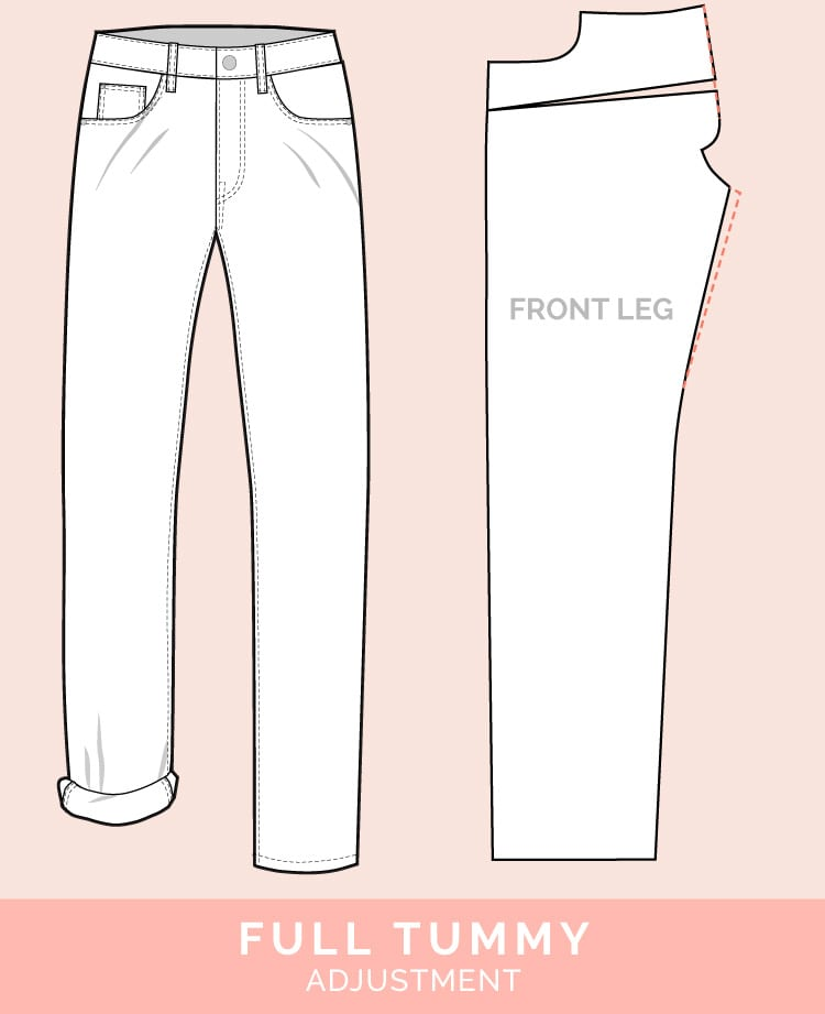 Round Tummy Adjustment // 12 common jeans and pants adjustments // Closet Case Files