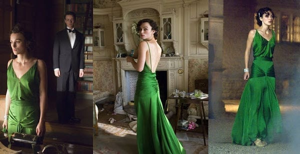 Green Atonement dress on Kiera Knightley // Closet Case Patterns