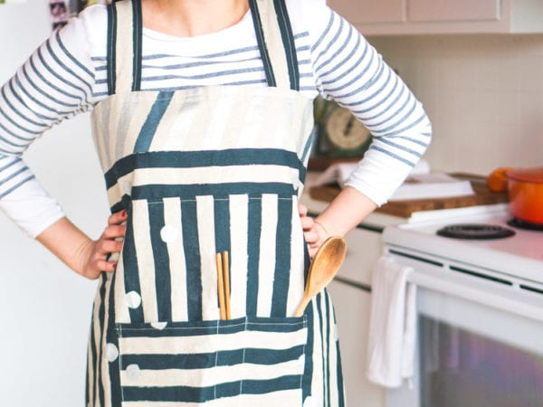 Japanese inspired cross-back apron fromt he Sewing Happiness Book by Sanae Ishida // Closet Case Files