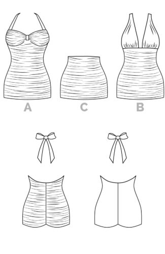 Bombshell Swimsuit Pattern // Technical flats