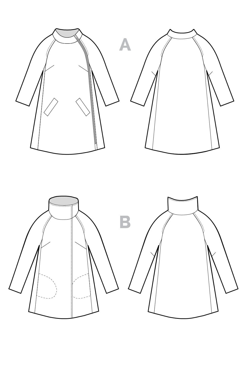 Clare Coat Pattern // Technical flats