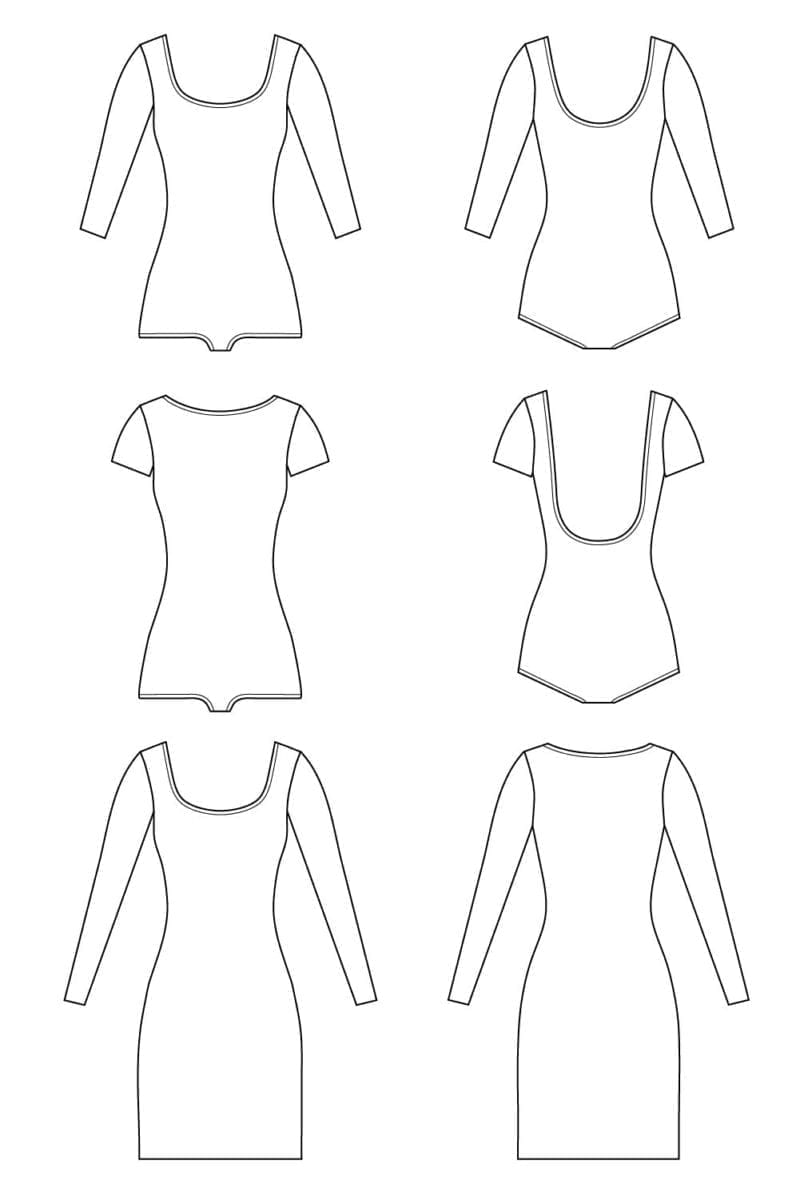 Nettie Dress & Bodysuit Pattern // Technical flats