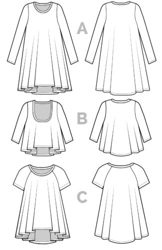 Ebony T-shirt and Knit dress pattern_Technical flats