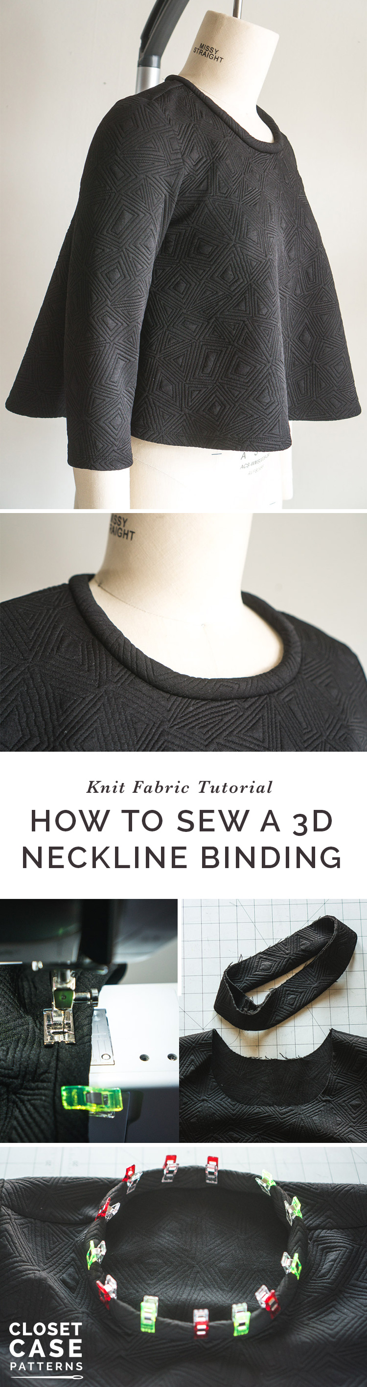 A cool technique for making a 3D neck binding for knit fabrics by Closet Case Patterns