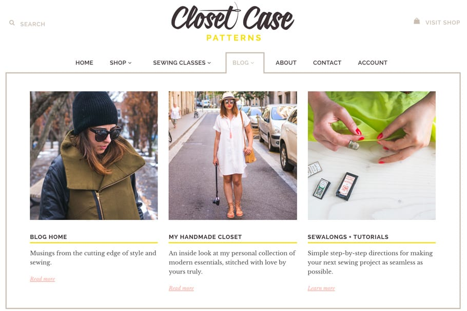 Closet Case Patterns // Blog & shop redesign // New Megamenus