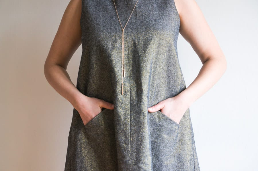 Farrow Dress by Grainline Studio // Kaufman Essex Metallic Linen // Handmade by Closet Case Patterns