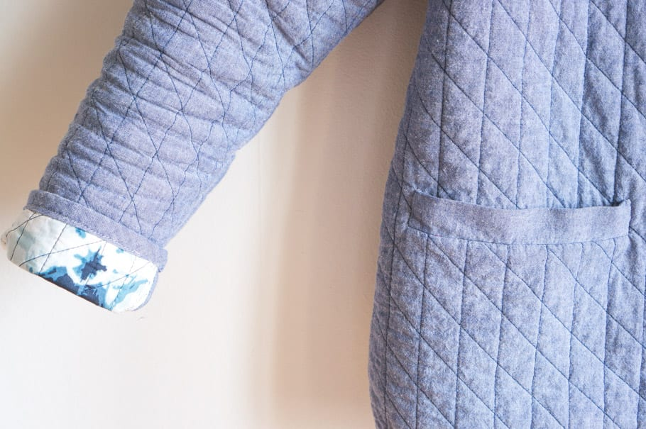 Quilted Tamarack Jacket with Shibori print lining // Closet Case Patterns
