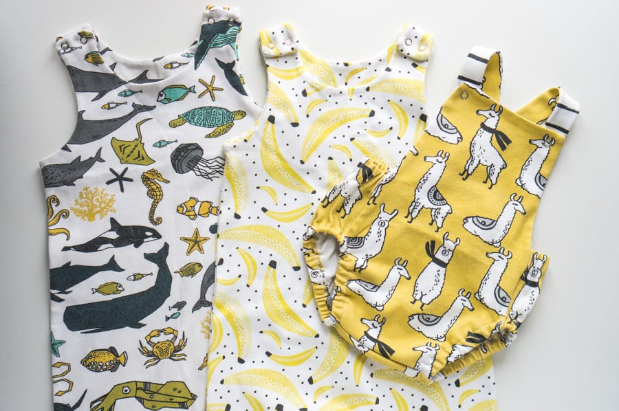 Sprout patterns baby clothes // Brindelle and Twig Pattern + Spoonfloower print // Closet Case Patterns