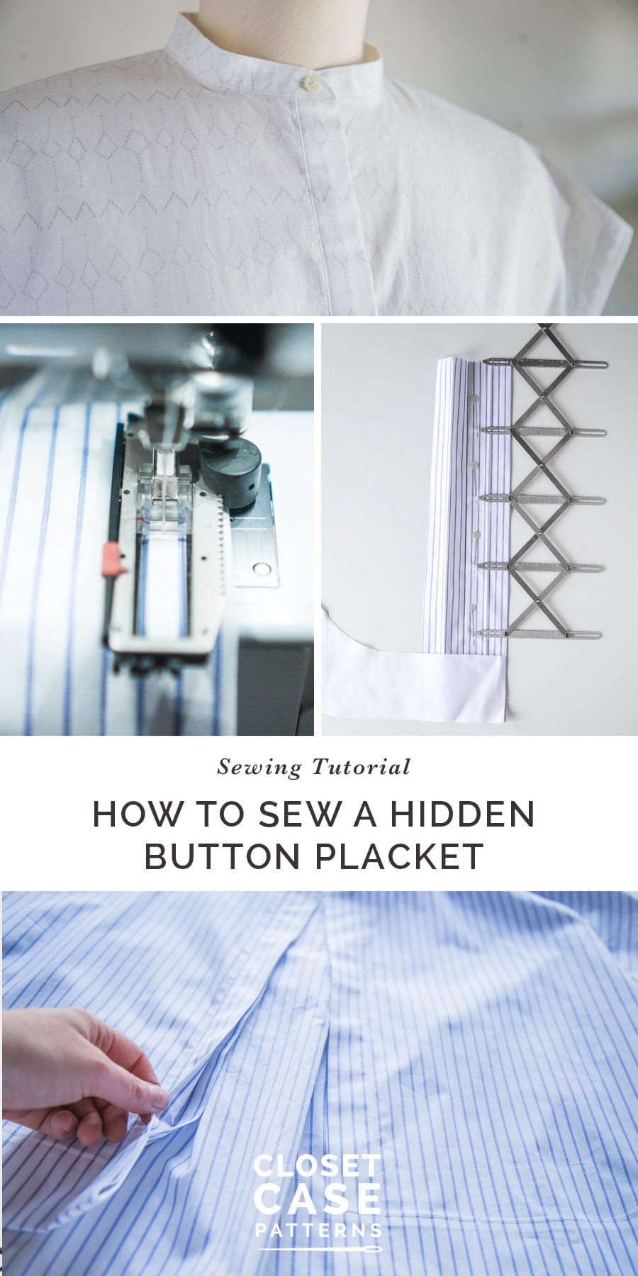 This is an easy tutorial on how to sew a hidden button placket // Closet Case Patterns