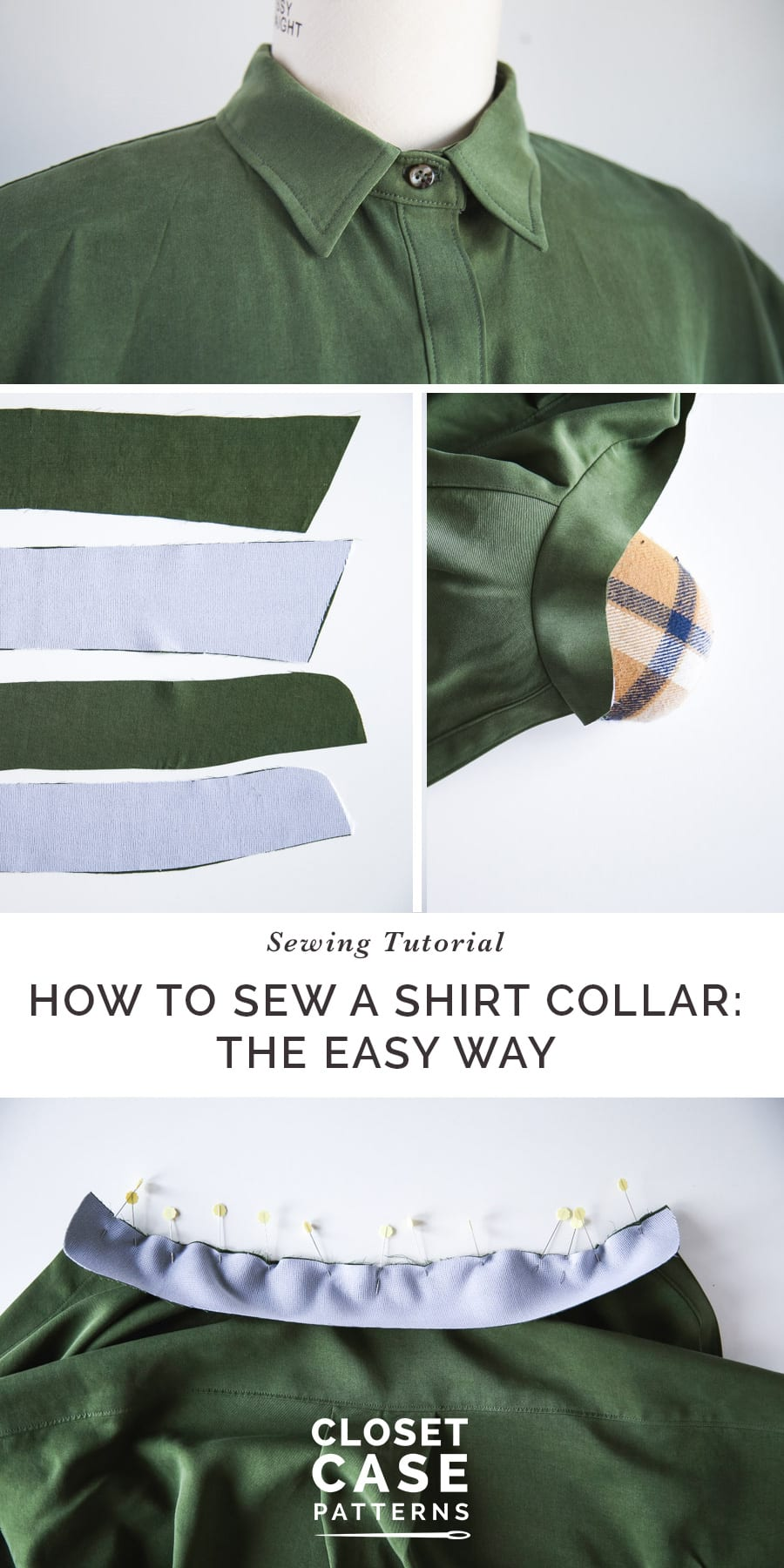 A tutorial on the easiest way to sew a shirt collar on the Kalle Shirt Dress