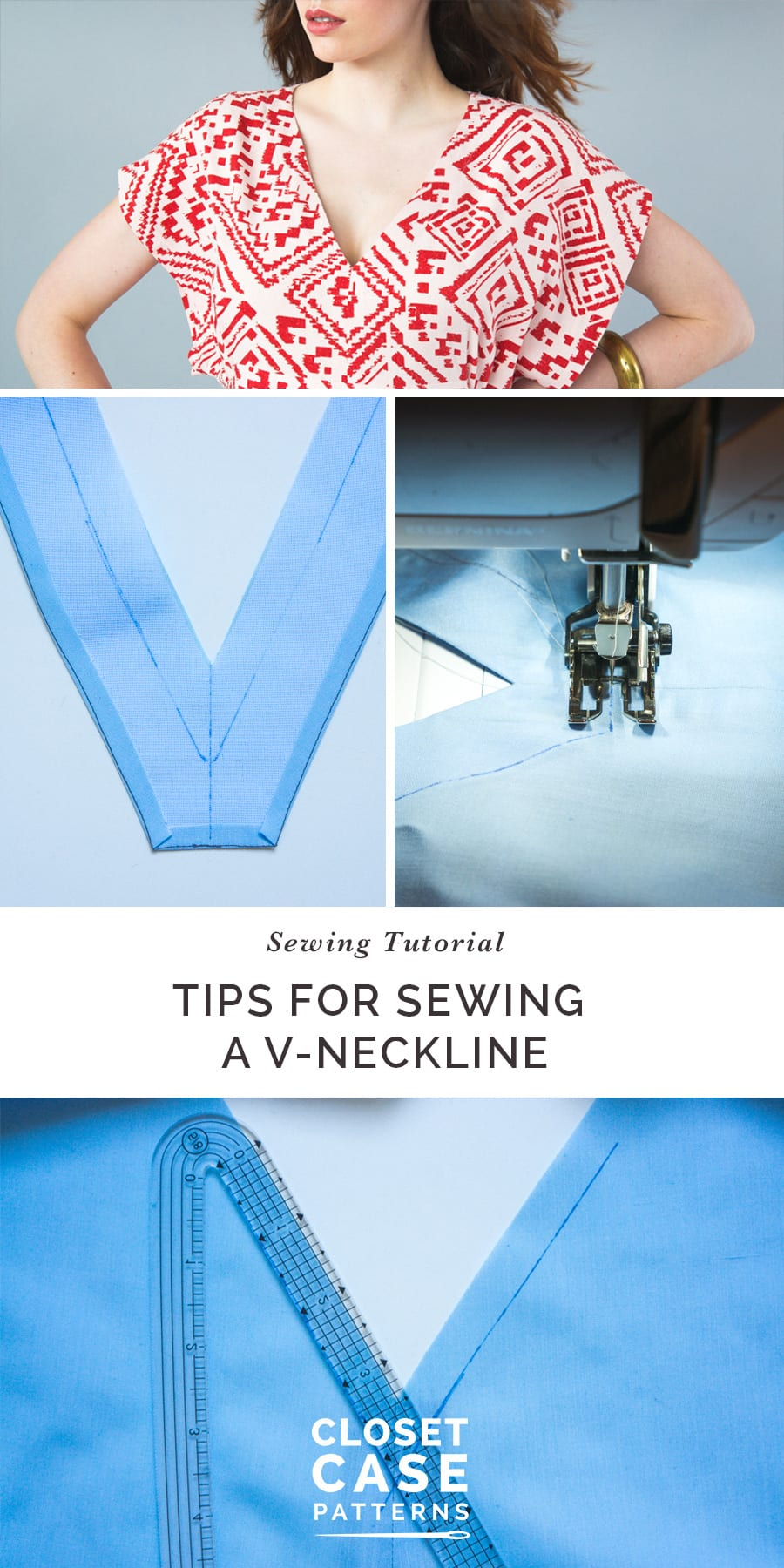 A tutorial with tips for how to sew a V-Neckline // Charlie Caftan