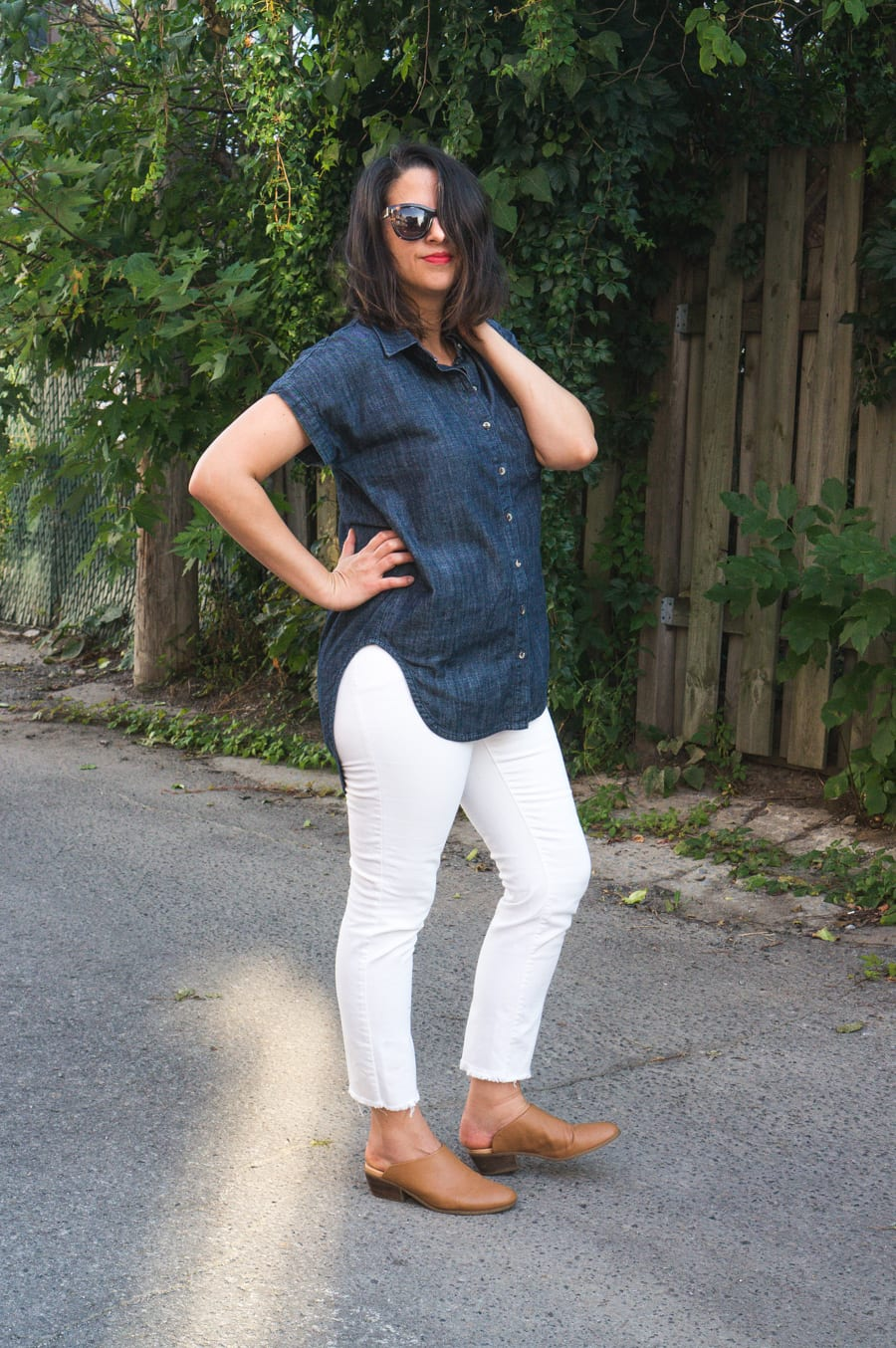 White Ginger Jeans + Denim Kalle Shirt/Tunic