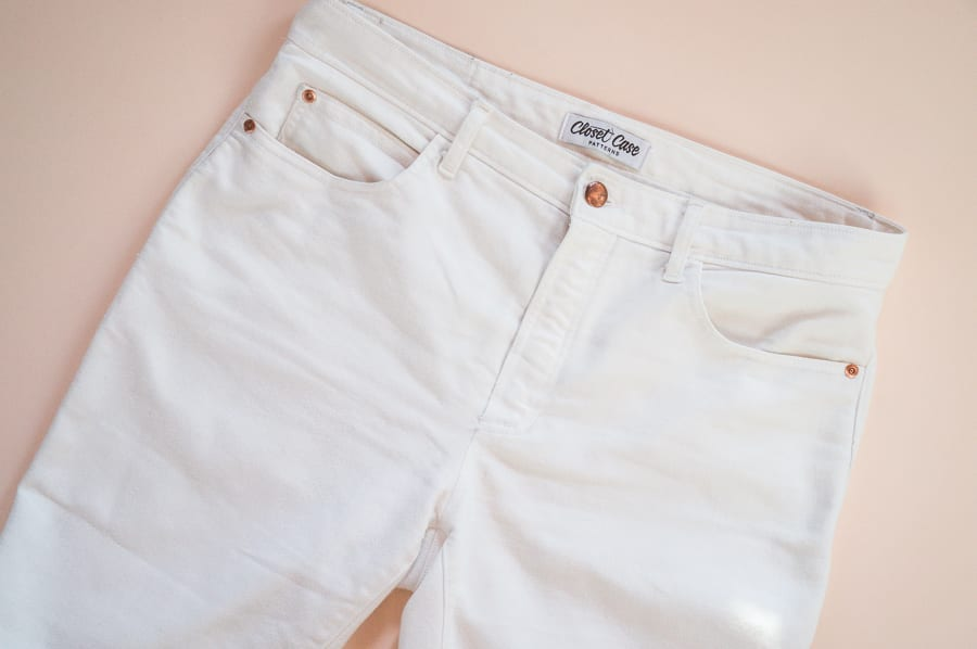 White Ginger Jeans pattern with Closet Case Patterns Jeans Hardware