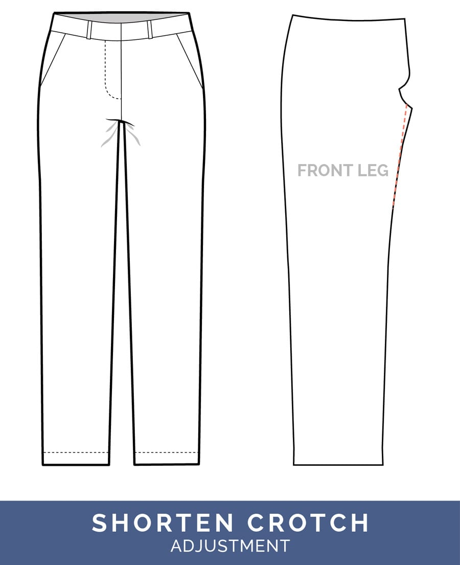 Shorten Crotch Adjustment - crotch too long // Pants Fitting Adjustments // Closet Case Patterns