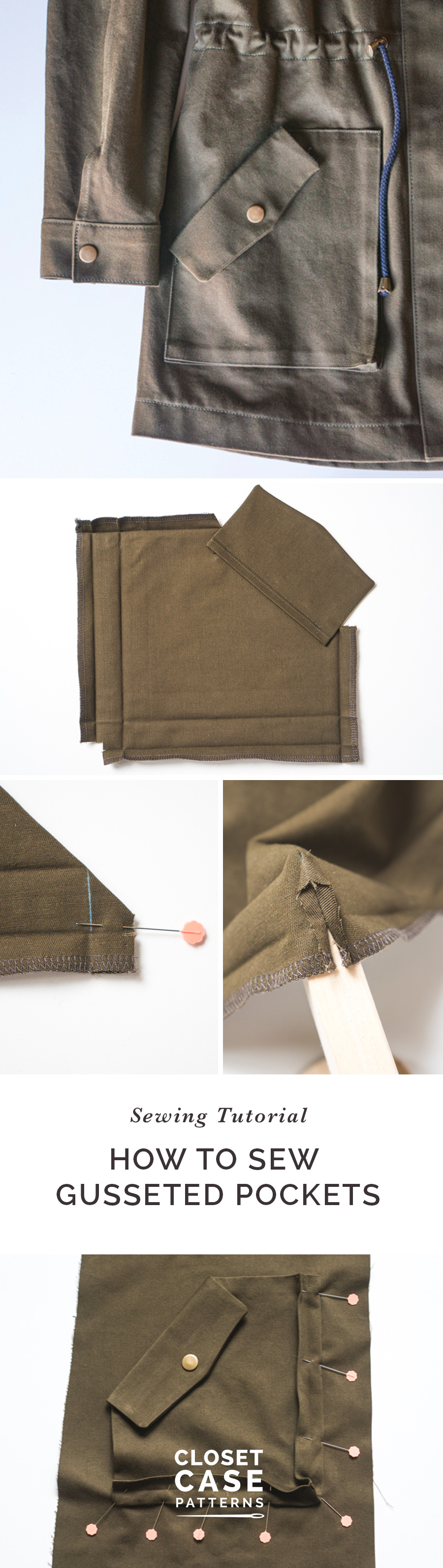 A tutorial for sewing gusseted pockets from Closet Case Patterns