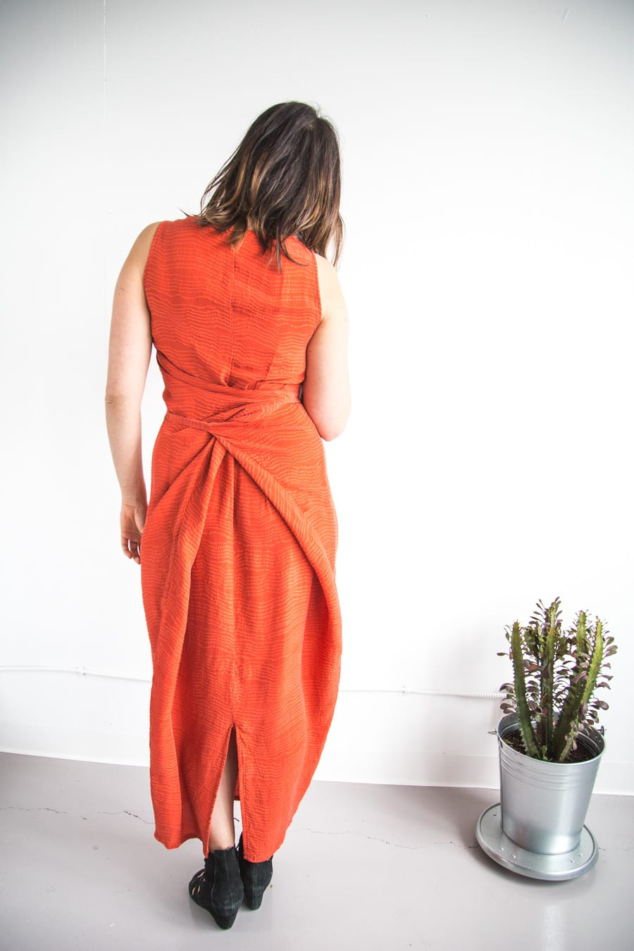 Red silk Kielo Wrap dress by Named Patterns // Handmade by Closet Case Patterns
