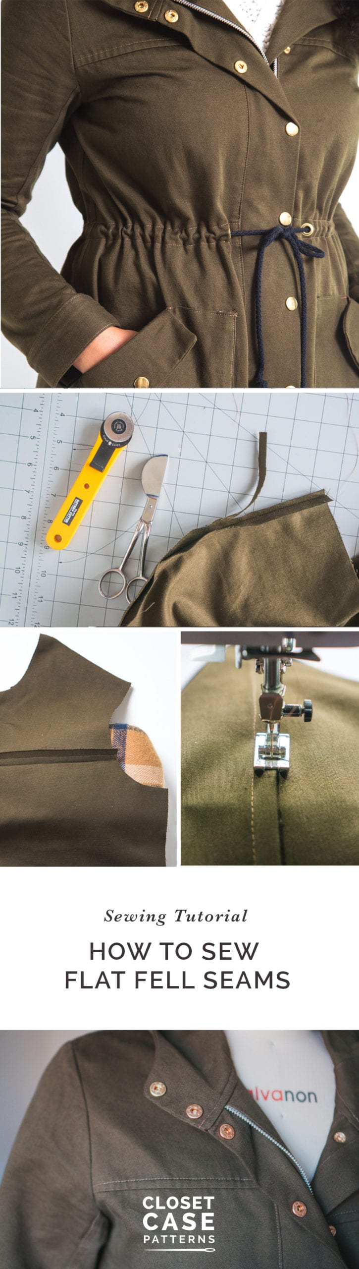 How to Sew Flat Felled Seams // Kelly Anorak Sewalong