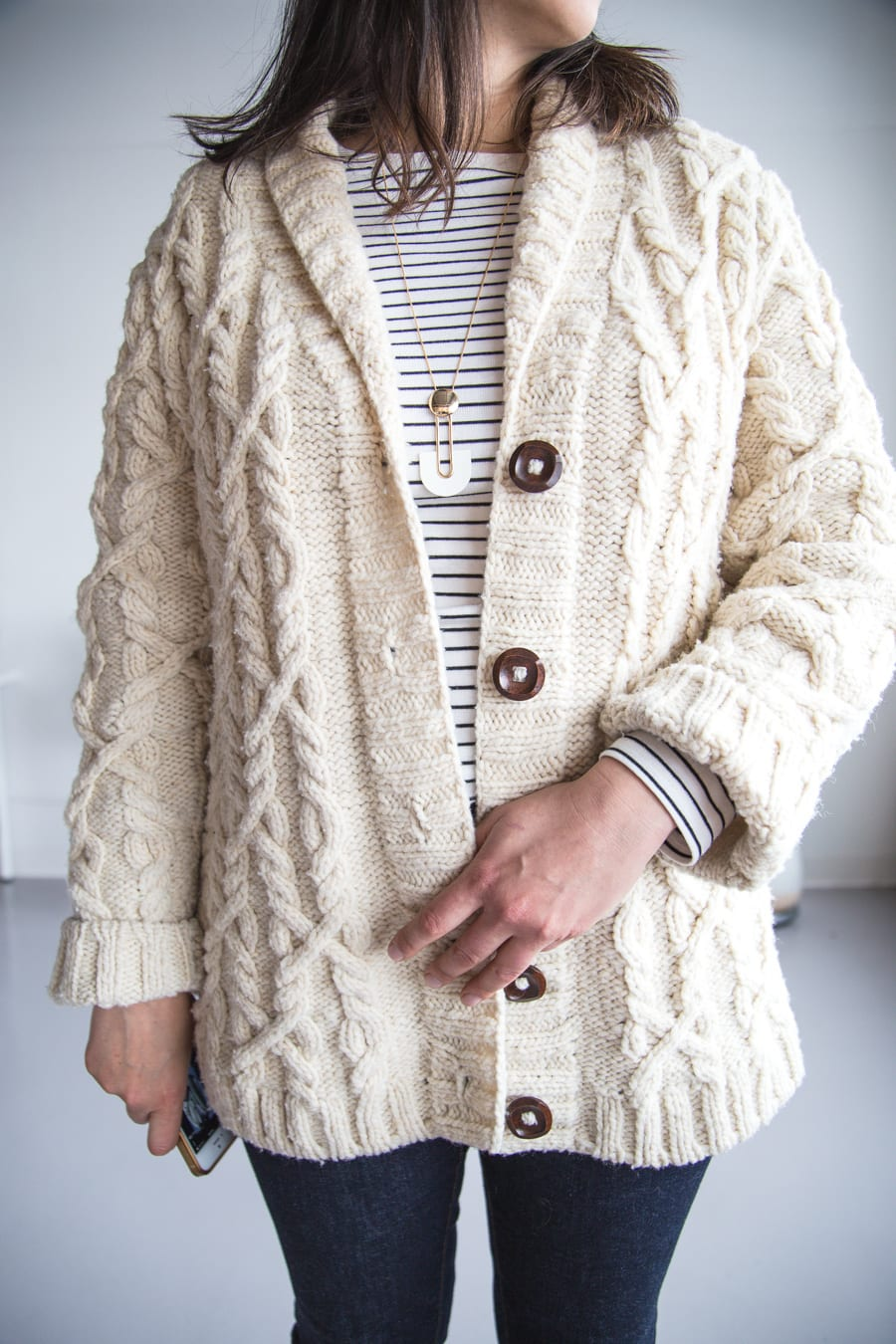 Snoqualmie Cardigan by Brooklyn Tweed // Modern cardigan knitting pattern // knit by Closet Case Patterns