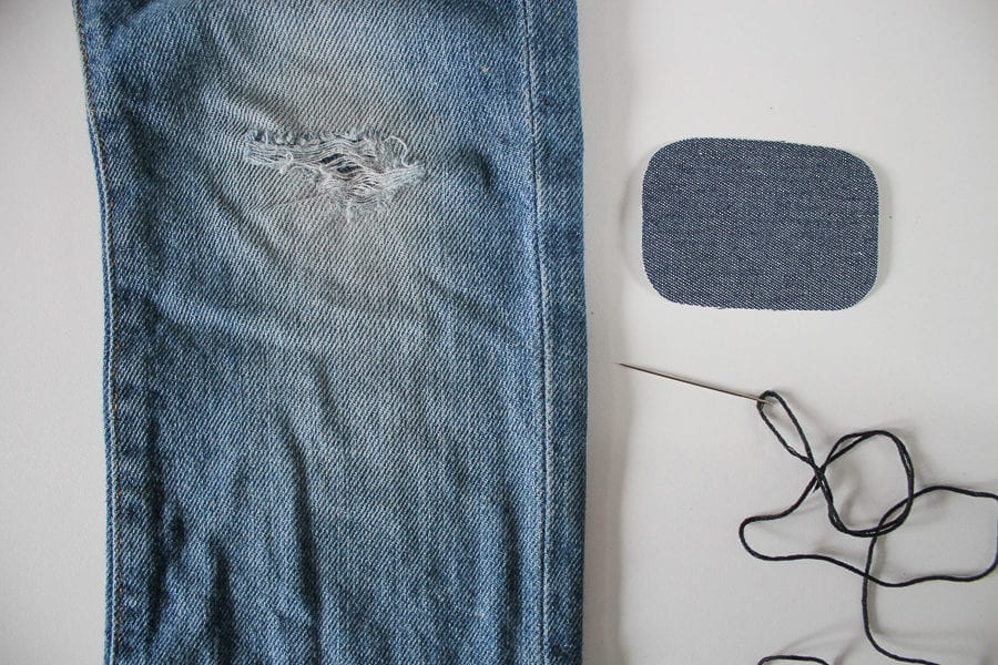 how to fix ripped jeans with visible mending sashiko and denim