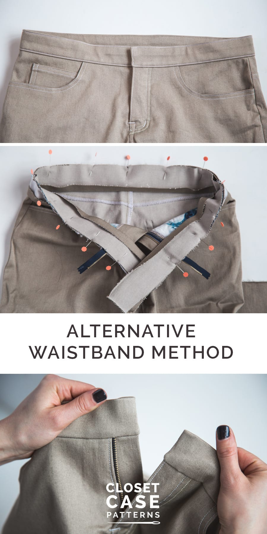 An in-depth sewing tutorial for sewing a jeans waistband from Closet Case Patterns