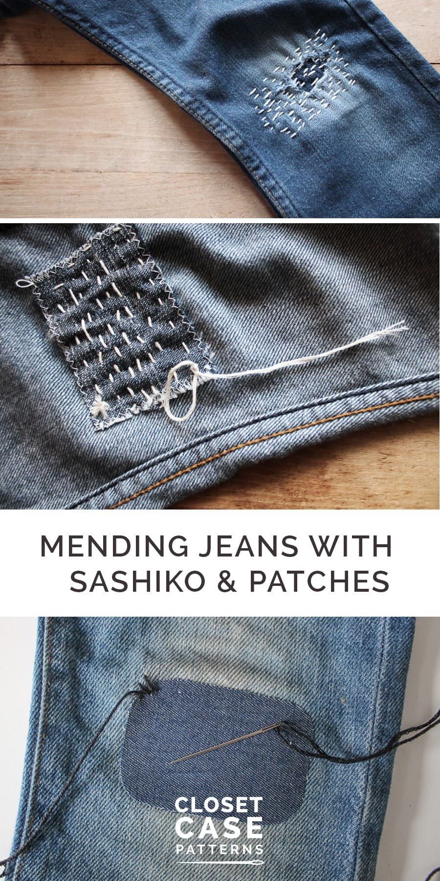 Fun and easy tutorial to mend your denim and repair your jeans with sashiko embroidery and boro patches! Sewing tutorial from Closet Case Patterns.