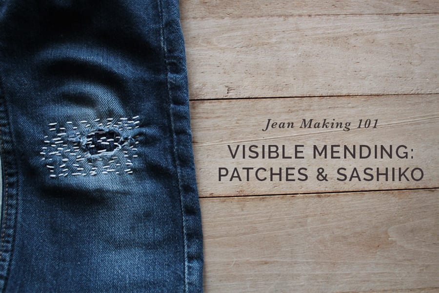 How to fix ripped jeans with boro patches & sashiko embroidery // Sewing tutorial by Closet Case Patterns