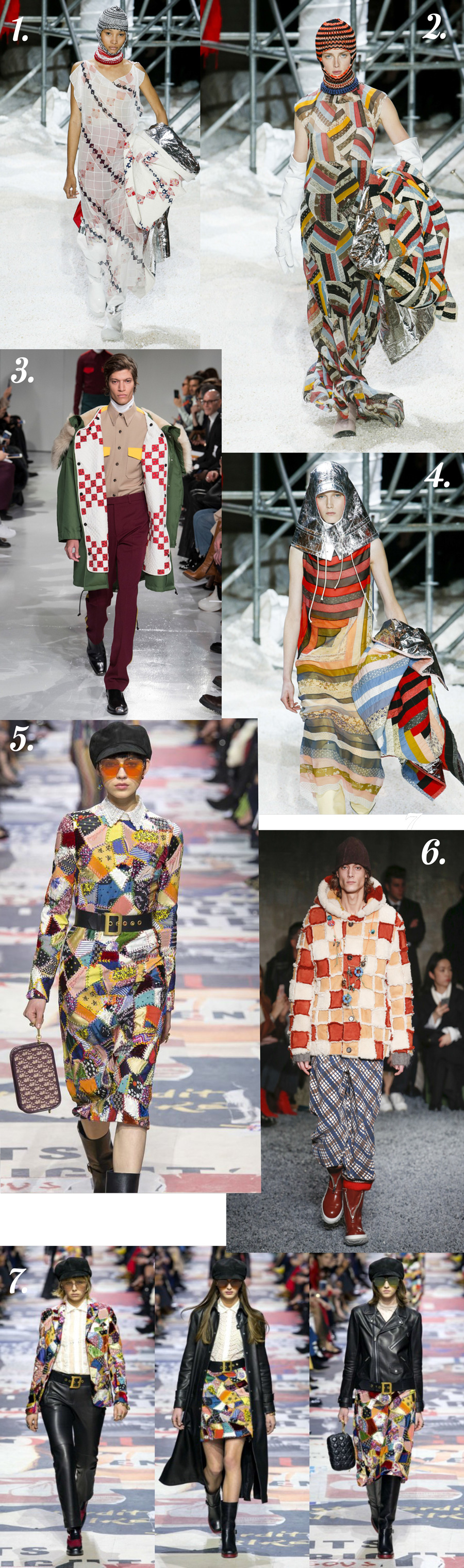 Runway roundup of quilts and patchwork inspiration from FW18 for your next sewing project idea!