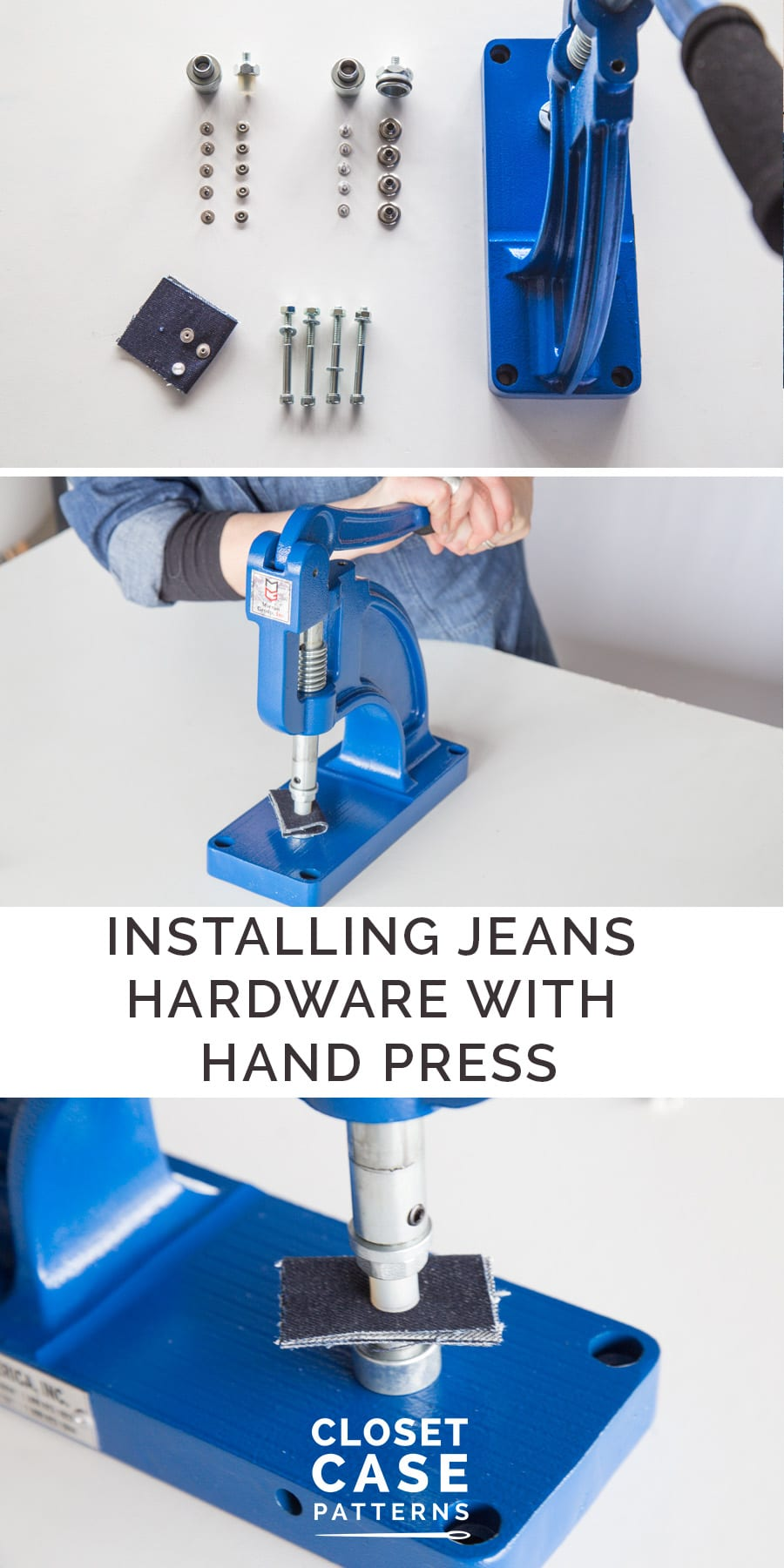 Install professional looking jeans hardware using an industrial press with this tutorial // Closet Case Patterns {permalink}