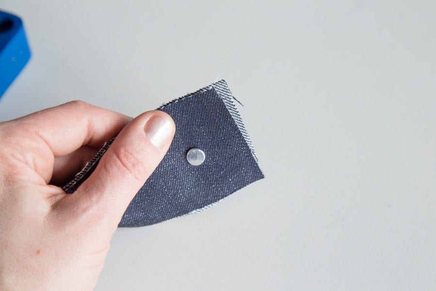 installing jeans hardware using rivet button press//closet case patterns tutorials