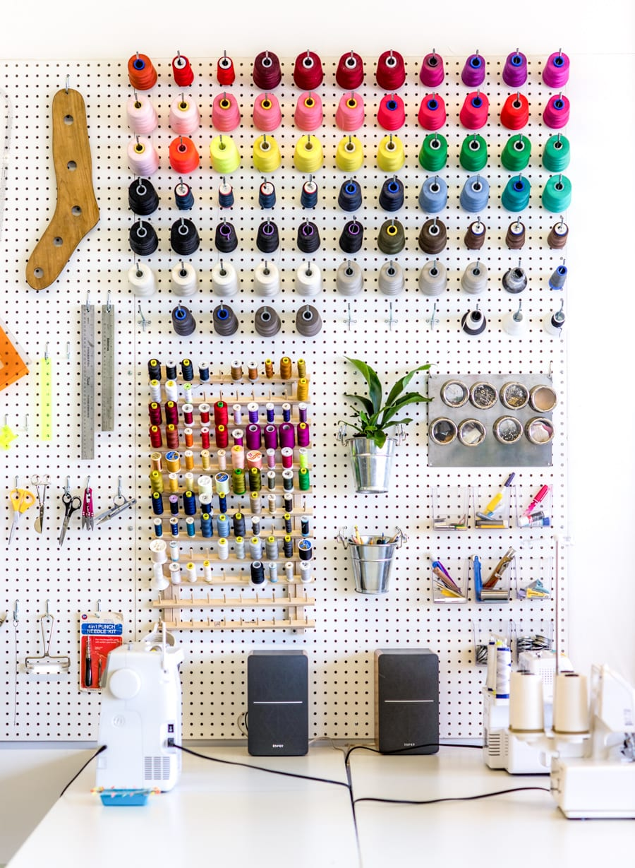 Pegboard organization for our sewing studio // Closet Case Patterns