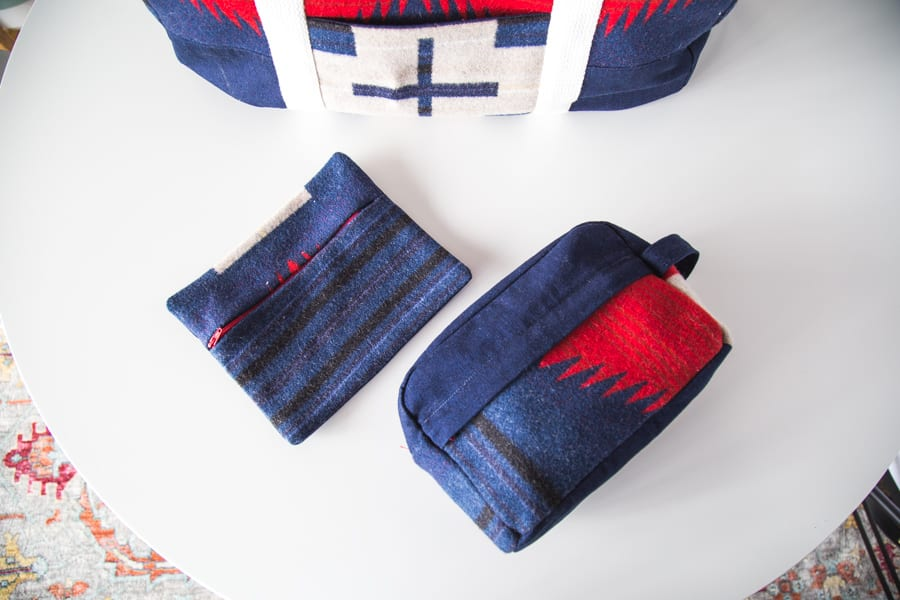 Portside Travel set in Pendleton wool // Portside Duffle Bag // handmade by Closet Case Patterns