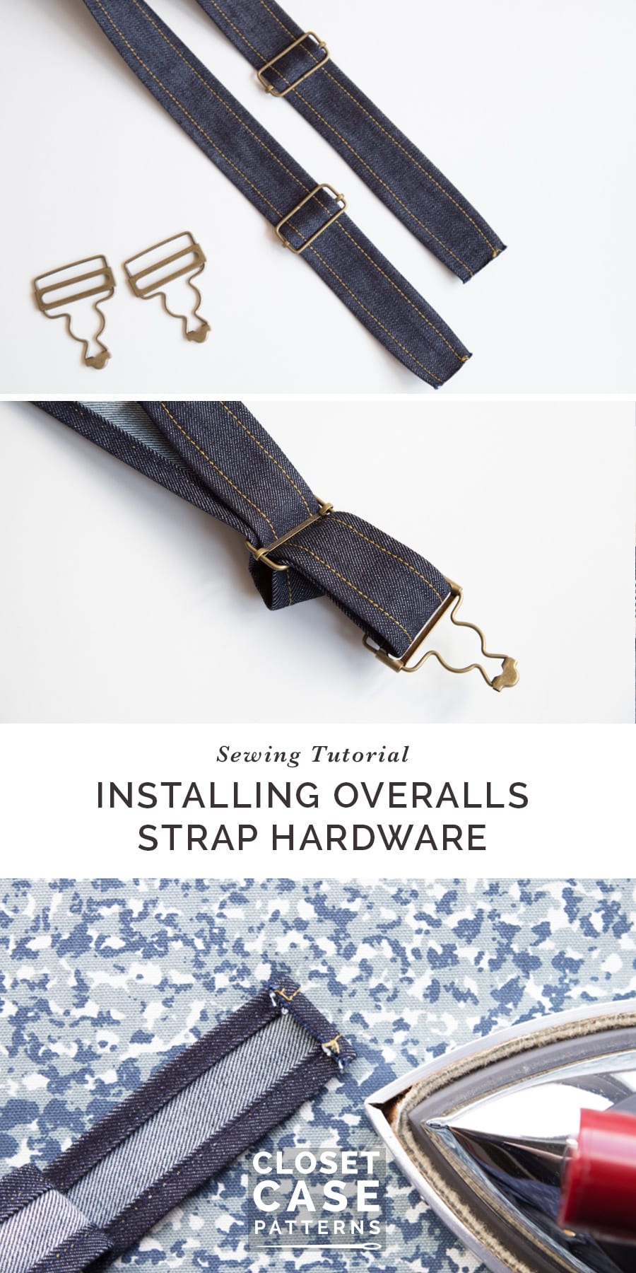 A quick, easy tutorial for adding hardware to overalls straps.