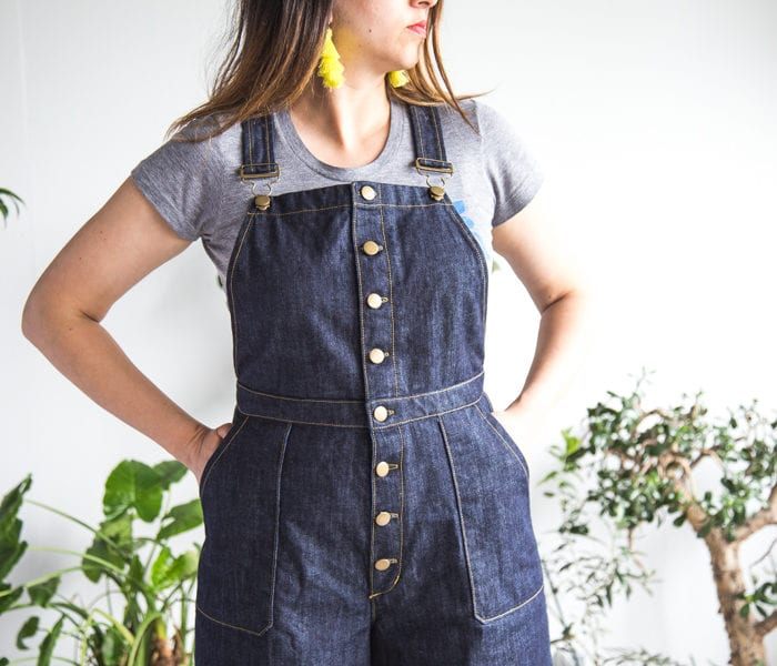 Jenny Overalls pattern with center front buttons & utility pocket // handmade by Closet Case Patterns