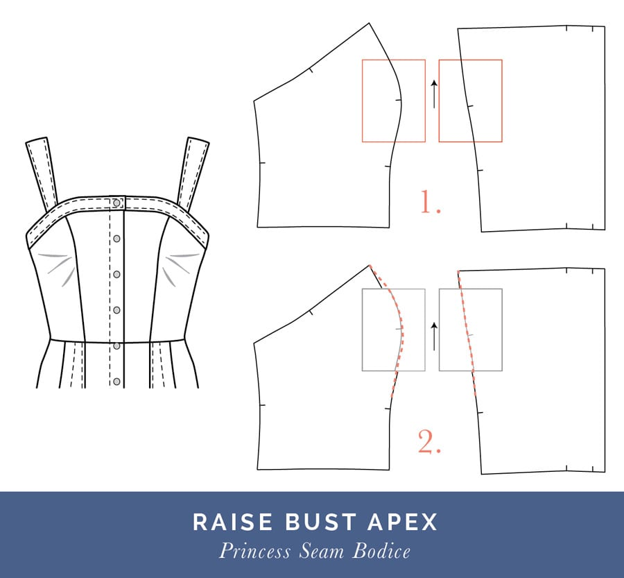 Raise bust apex // Fitting a Princess Seam Dress // Closet Case Patterns