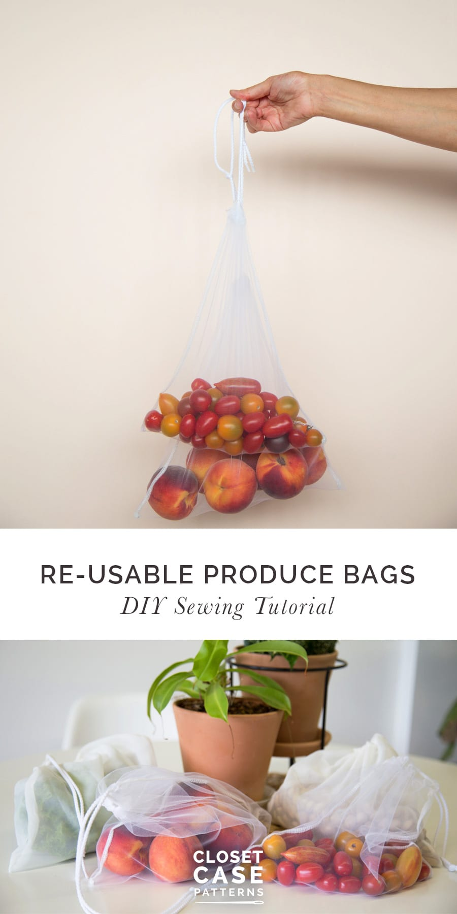 Zero Waste Reusable Produce Bags // Sewing Tutorial | Closet