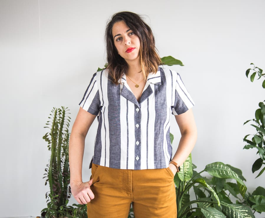 Cropped Carolyn Pajama top in striped linen (inspired by Everlane) // Handmade by Closet Case Patterns