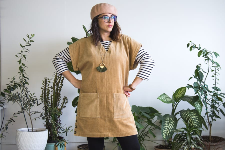 Charlie Caftan pattern hack - Shift dress in wide wale corduroy // by Closet Case Patterns